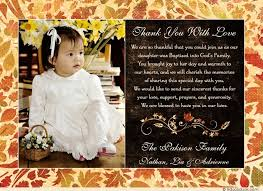 baptism thank you wording fall leaves baptism thank you card photo autumn baby s