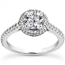 halo design rings images Halo design with raised prong center round diamond engagement ring jpg