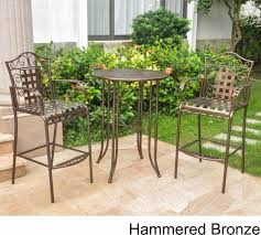 3 Piece Bar Height Patio Set Wrought Iron Bistro Set With Bar Table And Two Barstools Patio Table