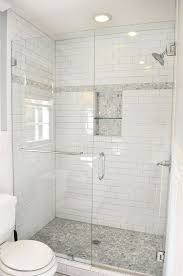traditional 3 4 bathroom with recessed shower niche frameless