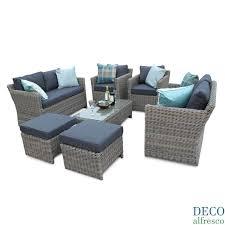 Grey Rattan Outdoor Furniture by 9pc Outdoor Grand Sofa Cube Rattan Furniture Set Deco Alfresco