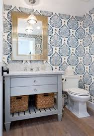 Modern Wallpaper For Bathrooms Bold Blue And White Bathroom With Coordinating Colors Of