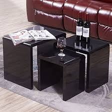 buy nest of tables uenjoy high gloss nest of coffee table side table living room black