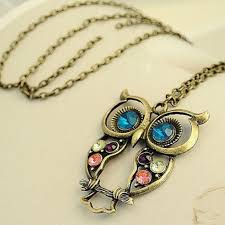 long chain crystal necklace images Crystal big blue eyed owl long chain pendant urbella jpg