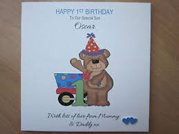 personalised handmade boys 1st first birthday card son brother