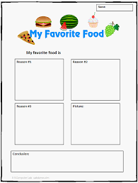 my favorite food is writing paper for first grade google search