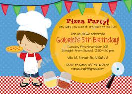 pizza party birthday invitation invite pizza chef boy pizza