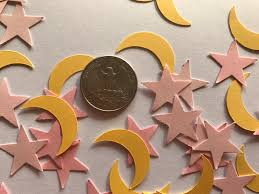 pink and yellow moon and star confetti twinkle twinkle little