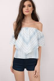 light blue off the shoulder top cute light blue multi tank top off shoulder top blue top 25