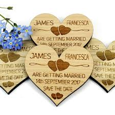 Magnetic Save The Dates Save The Date Wooden Magnet Wedding Invitation Heart Two Hearts