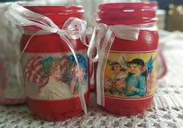 americana painted mason jar decoupage red rustic farmhouse
