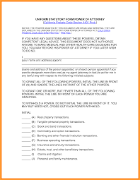 Sample Power Of Attorney Form by 13 California Probate Code Power Of Attorney Form Week Notice