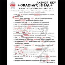 subjects verbs agreement grammar ninja by created for learning