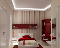 Bed Back Wall Design Terrific Cute Bedroom Design For Teenager Presenting White Red