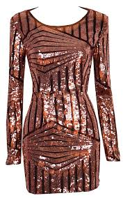gia open back long sleeved abstract sequined dress rustic