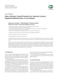 extra articular lateral tenodesis for anterior cruciate ligament