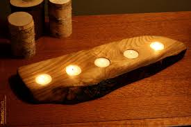 Unique Home Decor by Rustic Wood Tea Light Candle Holder 5 Tealight Holder