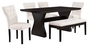 Espresso Dining Room Furniture Efie Espresso Dining Table With Linen Parson Chairs 6 Piece Set