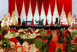 classic red and green christmas stage decor christmas party