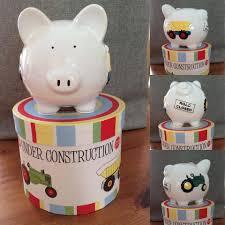 personalised piggy bank construction tractors trucks personalised ceramic piggy