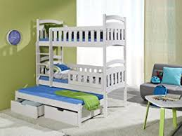 Dominic  Triple Bunk Bed Made From Pine Wood Amazoncouk - Triple bunk beds with mattress