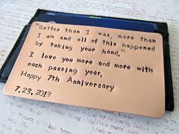 gift for husband 2014 copper wallet insert card personalized sted metal