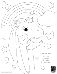 free unicorn color by letter activity sheet beyond the toy chest
