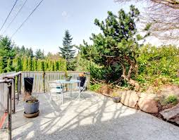 Concrete Patio Table Set by Roof Top Deck Over Garage With A Concrete Floor And Patio Table