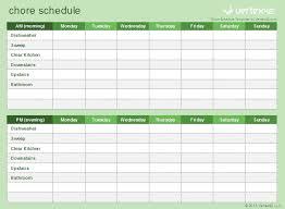 chore list template chore schedule template