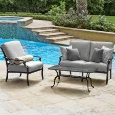 Patio Loveseat Cushion Du Monde 3 Piece Cast Aluminum Outdoor Conversation Set W 42 X 21