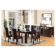 Dining Room Tables Set Iohomes 7pc Tempered Glass Top Dining Table Set Wood Dark Cherry