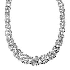 silver byzantine chain necklace images Eternity gold graduated byzantine chain necklace in 14k white gold jpg