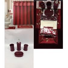 Burgandy Shower Curtain 22 Piece Bath Accessory Set Burgundy Red Bath Rug Set Shower