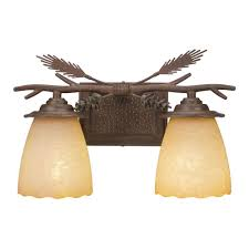Cabin Light Fixtures by Hampton Bay Lodge 2 Light Weathered Spruce Bath Light 15182 The