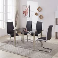 glass and chrome dining table black clear glass chrome dining table set 4 faux leather chair grey
