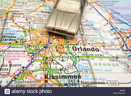 Florida Orlando Map by Model Sedan On A Road Map Of Orlando And Kissimmee Fl Stock Photo