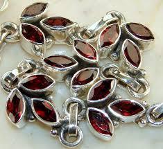garnet sterling silver bracelet images Garnet birth stone sterling silver ring jewelry supplier JPG