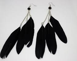 black feather earrings black feather earrings etsy