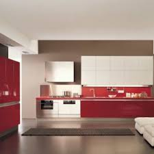 Red Kitchen White Cabinets Engaging Straight Shape Red Kitchen Featuring Double Door Kitchen