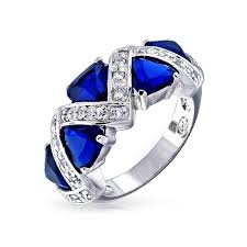 color sapphire rings images Sterling silver trillion cut blue sapphire color cz zig zag ring jpg