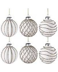 sale golden glitter 6 glass snowball ornament set
