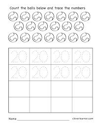 Worksheets For Kindergarten Printable Number 20 Writing Counting And Identification Printable