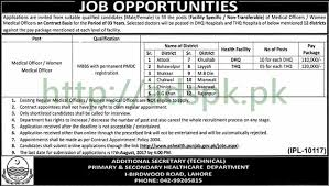 jobs primary u0026 secondary healthcare department lahore dhq thq