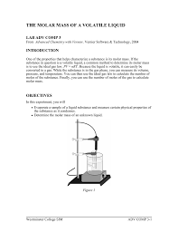 Molar Mass Calculations Worksheet The Molar Mass Of A Volatile Liquid Lab Adv Comp 3 Introduction