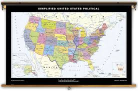 Florida Political Map by Klett Perthes Simplified United States Political Map On Spring Roller