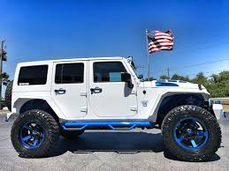 white jeep rubicon 2018 jeep wrangler jk unlimited custom white n blue lifted leather