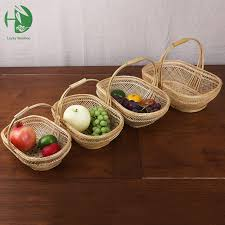 gift baskets wholesale bamboo small fruit baskest for storage with handle handmade woven