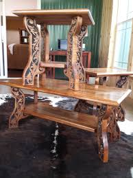 western style coffee and end tables carved wood features country