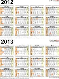 2012 2013 calendar free printable two year excel calendars