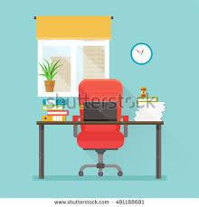 office desk notebook comfortable chair window stock vector